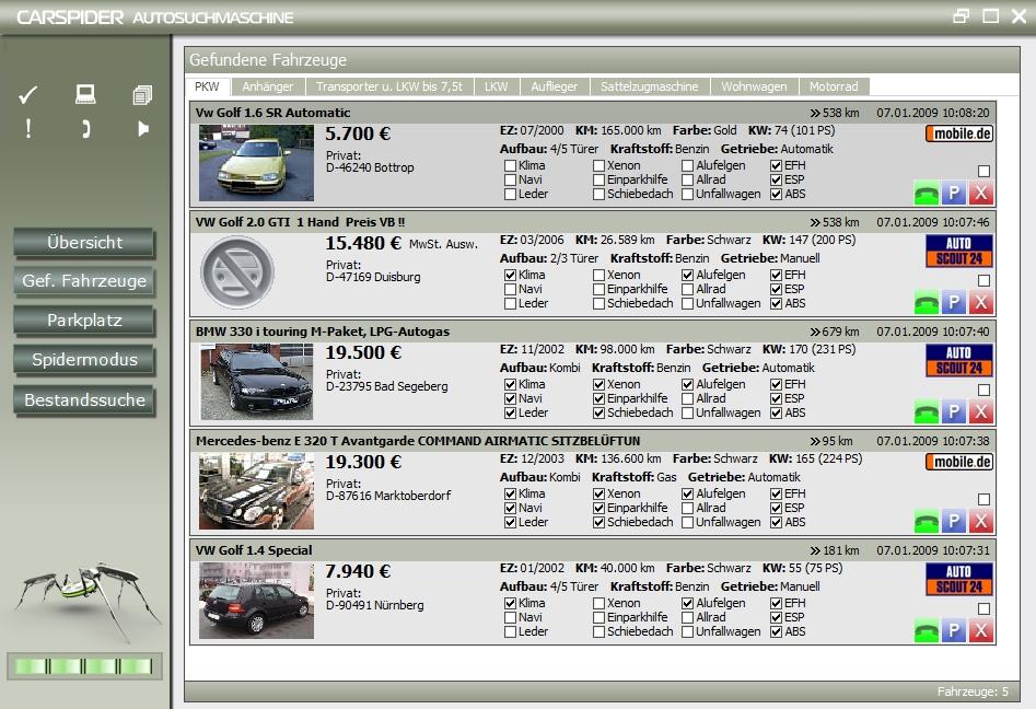 Screenshot vom Programm: Carspider Autosuchprogramm